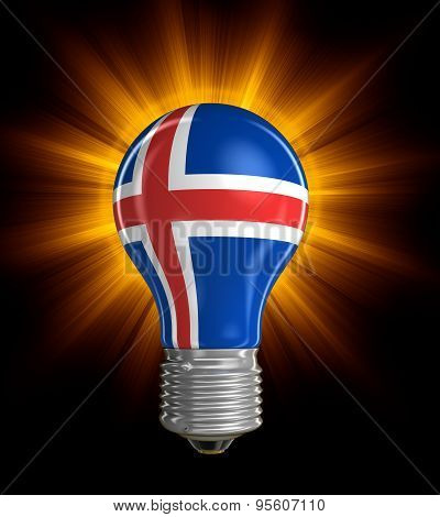 Light bulb with Icelandic flag (clipping path included)
