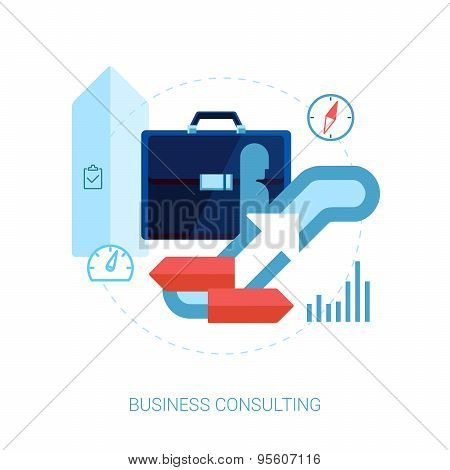 Career building and business development flat icon illustration