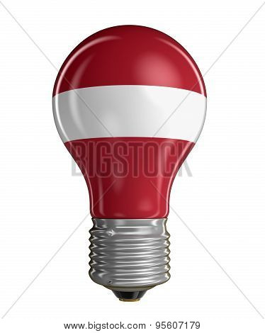 Light bulb with Latvian flag (clipping path included)