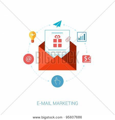 E-mail, news letter and publisc relation flat icon illustration