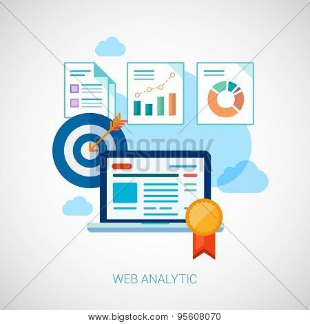 Marketing and sales analytics tasks flat icons design
