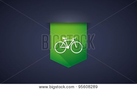 Long Shadow Ribbon Icon With A Bicycle
