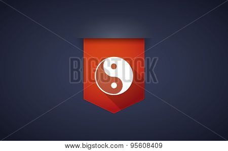 Long Shadow Ribbon Icon With A Ying Yang
