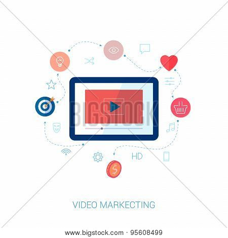 Social video viral marketing flat icon vector illustration