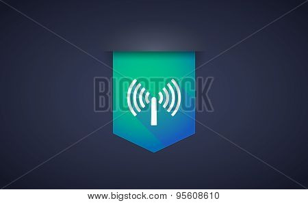 Long Shadow Ribbon Icon With An Antenna