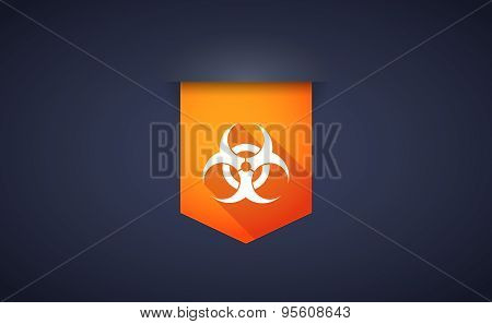 Long Shadow Ribbon Icon With A Biohazard Sign