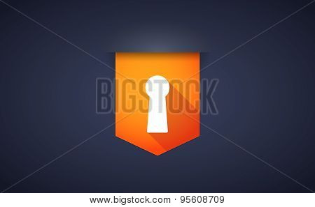 Long Shadow Ribbon Icon With A Key Hole