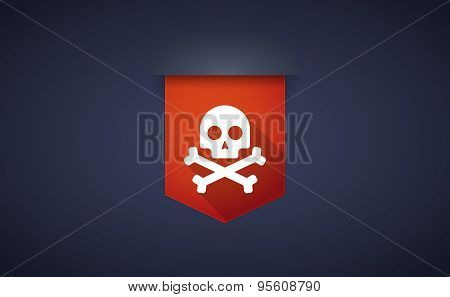 Long Shadow Ribbon Icon With A Skull
