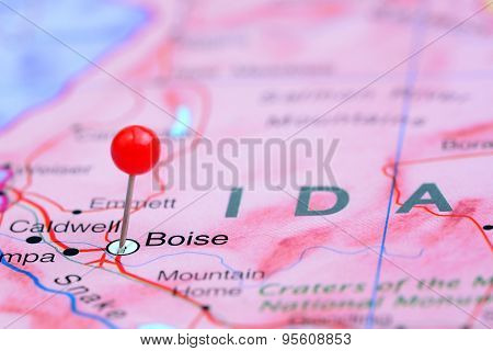 Boise pinned on a map of USA