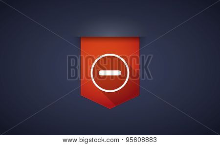 Long Shadow Ribbon Icon With A Subtraction Sign