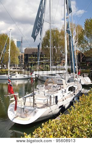 LONDON, UK - APRIL 30, 2015: Private boats and hatches in the st. Catherine dock, centre of London