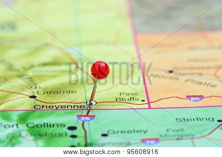 Cheyenne pinned on a map of USA