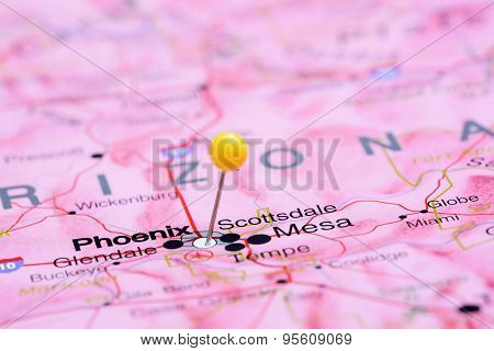 Phoenix pinned on a map of USA