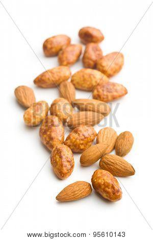 sugared almonds on white background
