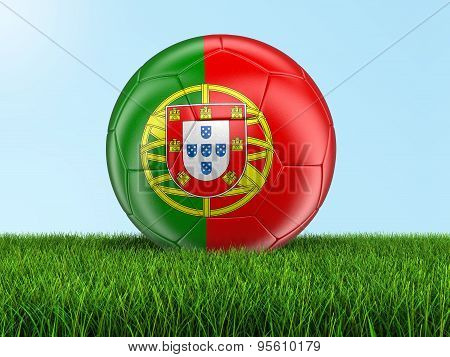 Soccer football with Portuguese flag