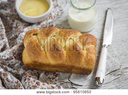 Homemade Sweet Butter Bread, Brioche, On A Light Wooden Background