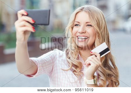 Happy girl on shopping
