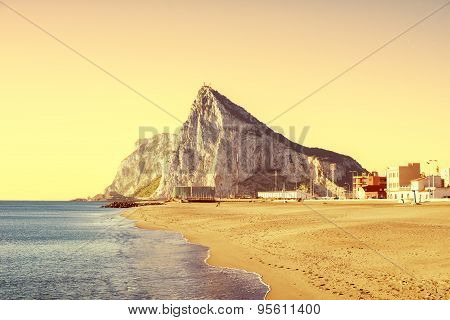 The Rock Of Gibraltar As Seen From The Beach Of La Atunara, In La Linea De La Concepcion