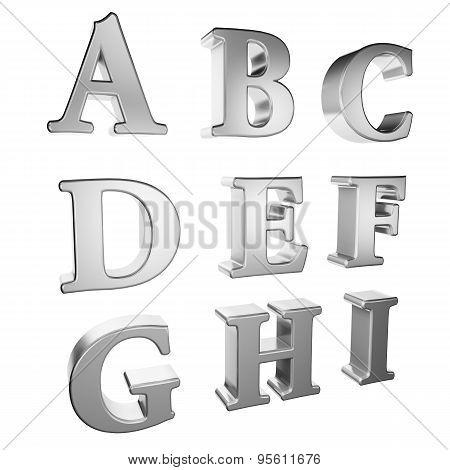 Silver alphabet A to I