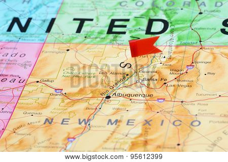 Santa Fe pinned on a map of USA