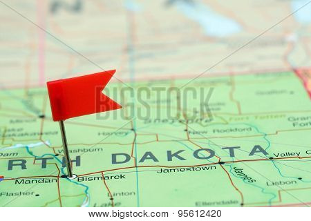 Bismarck pinned on a map of USA