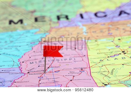Jackson pinned on a map of USA