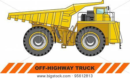 Off-highway truck. Heavy mining truck. Vector illustration.