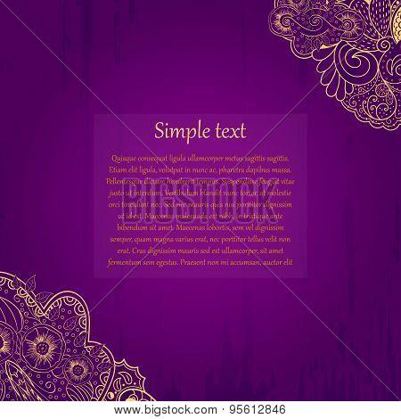 Mehendi tracery card, handmade, purple and gold