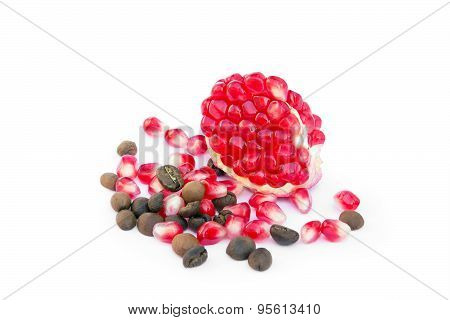 Red Sliced Pomegranate With Coffee And Pomegranate Grains