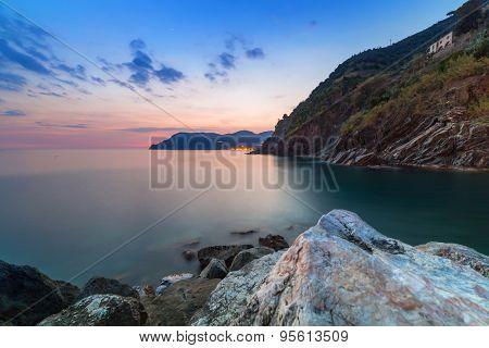 Beautiful sunset at Ligurian Sea, Italy