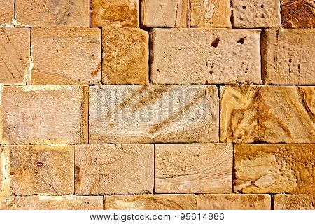 Texture Of Yellow Stoned Bricks