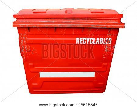 Red industrial recycling bin on a white background.