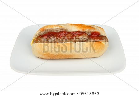 Sausage Baguette On Plate