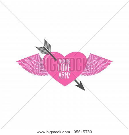 Funny military logo emblem. Army soldier of love. Pink heart with an arrow with wings. Romantic embr