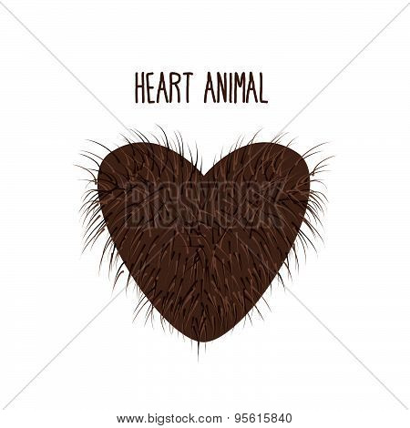 Hairy Heart animal. Sign heart shaggy Brown and fluffy. I love animals. Vector illustration