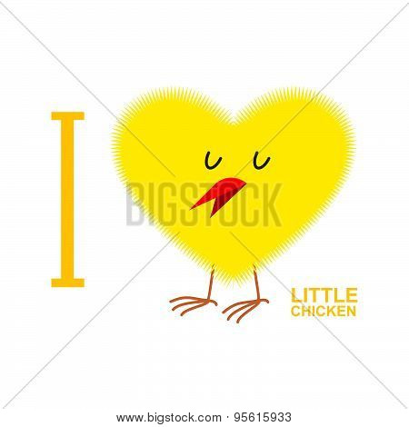 I love chicks. Yellow Symbol of heart from a small chicken. Vector illustration
