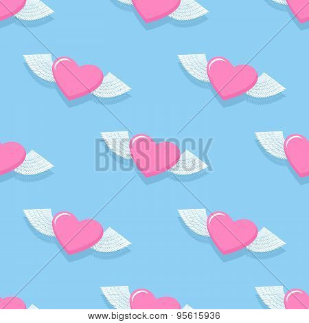 Winged heart seamless pattern. Background for Valentine's day. Heart with Angel wings. Vector illust
