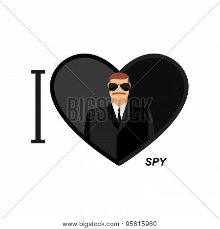 I love spy. Man in black glasses and dressed in a symbol of   heart. Vector illustration man secret