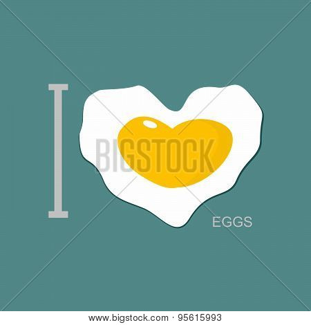 I love scrambled eggs. Scrambled eggs as a symbol of  heart. Fried egg. Vector illustration.