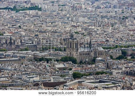 Panorama Of Paris With Aerial View At Notre Dame