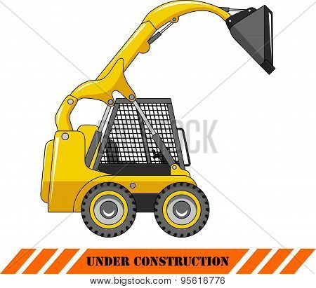Skid steer loader. Heavy construction machine. Vector illustration