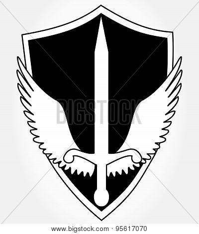 Tattoo. Shield, wings and sword.