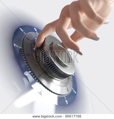 Close up of a safe lock and woman hand conceptual image for security and business