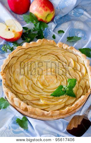 Apple pie, puff pastry pie with custard and jelly