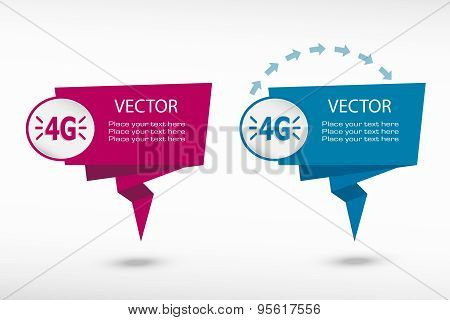 4G Sign On Origami Paper Speech Bubble Or Web Banner, Prints.