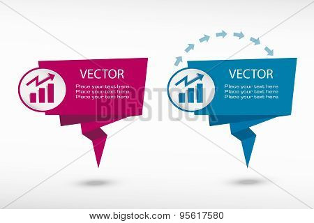 Business Graph Design Element On Origami Paper Speech Bubble Or Web Banner, Prints.