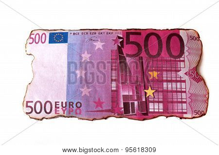 euro charred banknote isolated