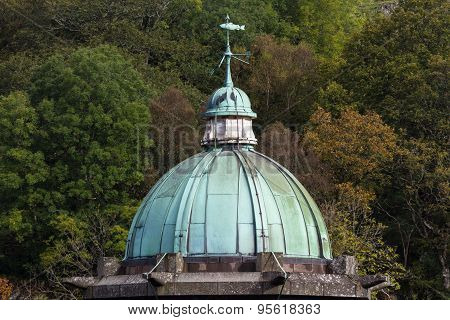 Cupula Green Dome, Copper With Verdigris, Gloomy Sky