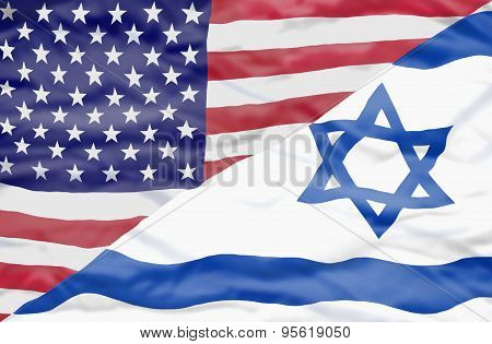 United States of America and Israel mixed flag.