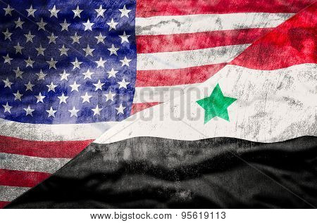 United States of America and Syria mixed flag.